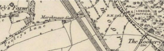 Map: Marshmoor Gate 1883 OS 6-inch map (surveyed 1873-1879)  Image courtesy of the National Library of Scotland