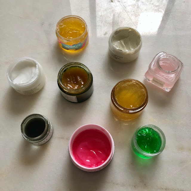 Peter Thomas Roth Cucumber Gel Mask, Kate Somerville Wrinkle Warrior Pink Plumping Mask, Glossier Moisturizing Moon Mask, Glossier Mega Greens Galaxy Pack, First Aid Beauty Ginger & Turmeric Vitamin C Jelly Mask, Glow Recipe Watermelon Glow Sleeping Mask, Kiehl's Calendula & Aloe Soothing Hydration Masque, Herbivore Botanicals Blue Tansy Resurfacing Clarity Mask, Fresh Vitamin Nectar Vibrancy-Boosting Face Mask, skincare, skin care, face mask, wash off mask
