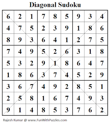 Diagonal Sudoku (Fun With Sudoku #115) Solution