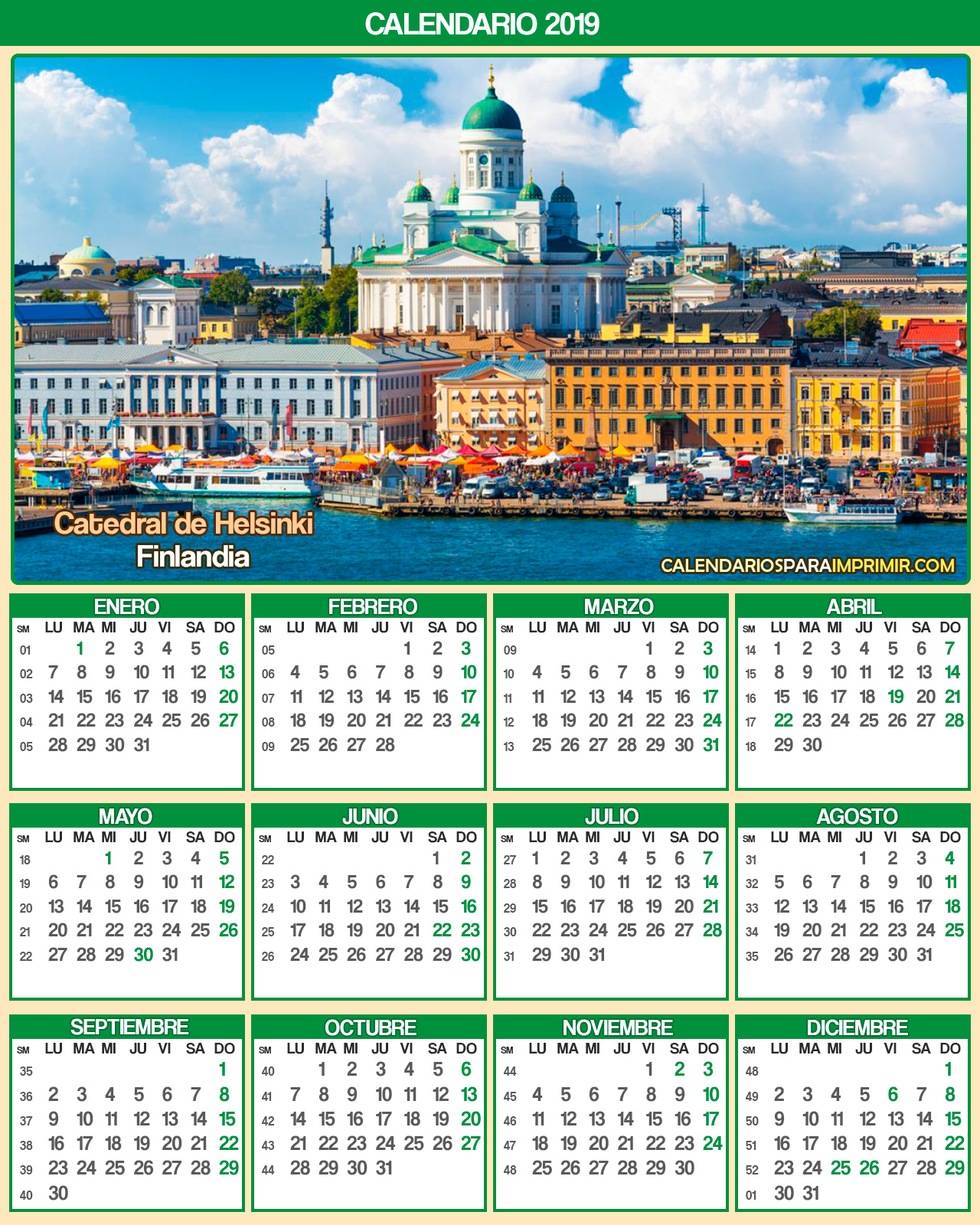 calendario finlandia 2019