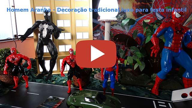 Decoração festa Homem Aranha em mesa de tecido luxo