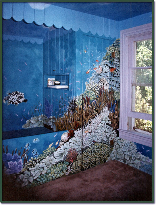 Aquarium room wall mural for Designer mural wallpaper