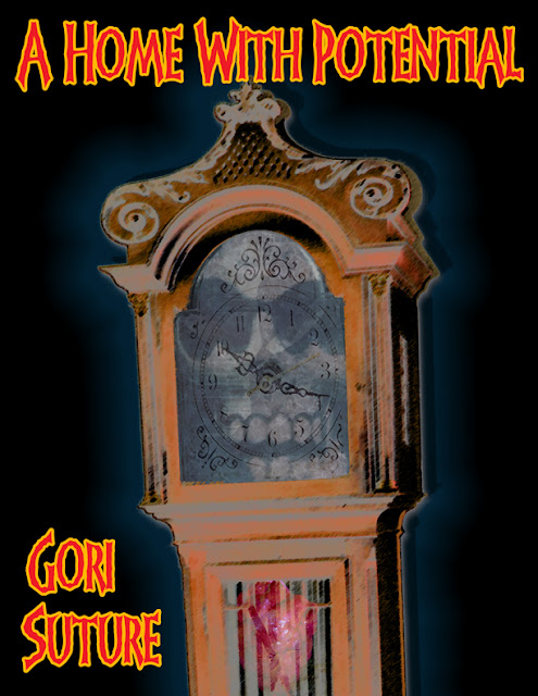 a grandfather clock with a skull clock face
