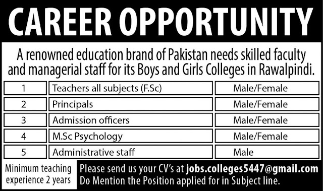 Jobs in Pakistan for Teachers in a Private School Rawalpindi