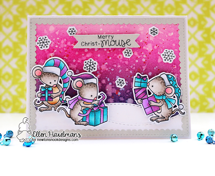 Christmas Mice Card by Ellen Haxelmans | Naughty or Mice Stamp Set by Newton's Nook Designs #newtonsnook #handmade