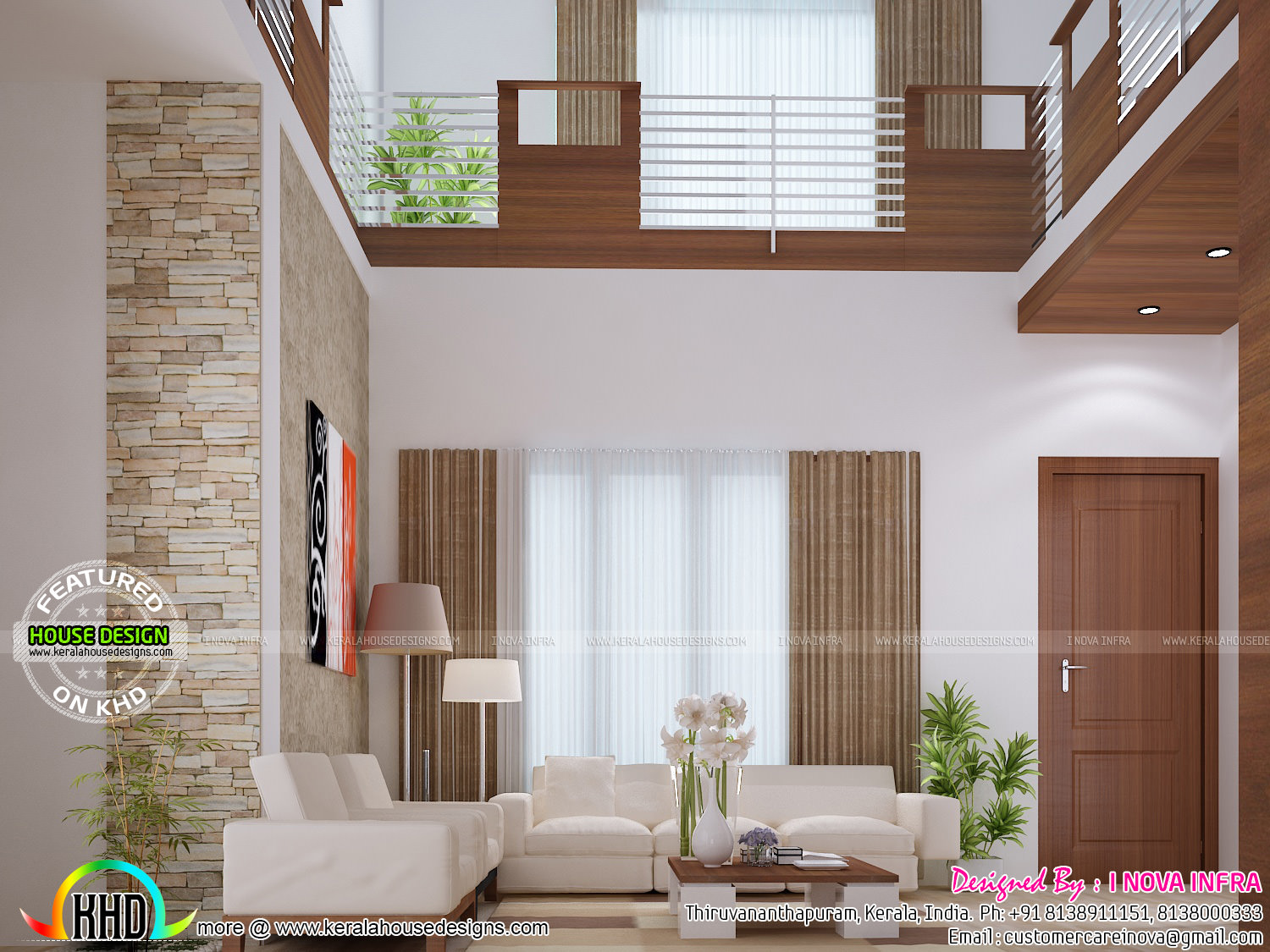 Balcony dining bedroom and staircase interior kerala for Interior design for duplex living room