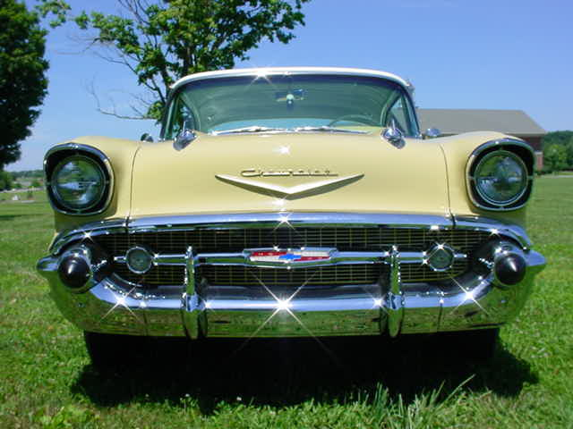 The Original U002757 Chevy Belair Hooded Headlights And Chrome Grille: