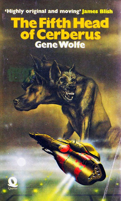Image of a giant three headed hell-hound, Cerberus, two heads looking about, one with teeth exposed, snarling. A space craft seems to be making an emergency manoeuvre to get away. From The Fifth Head of Cerberus by Gene Wolfe.