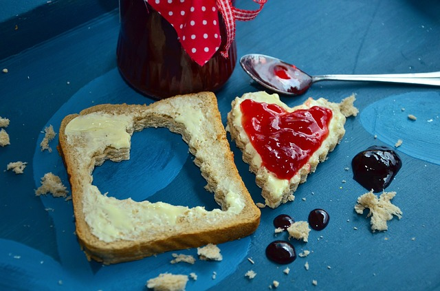 Slice of Bread with a Heart Shape Cut Out