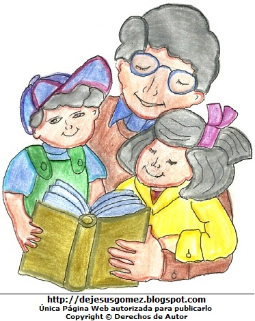 Dibujo de un padre con sus hijos leyendo un libro pintado con colores. Dibujo hecho por Jesus Gómez