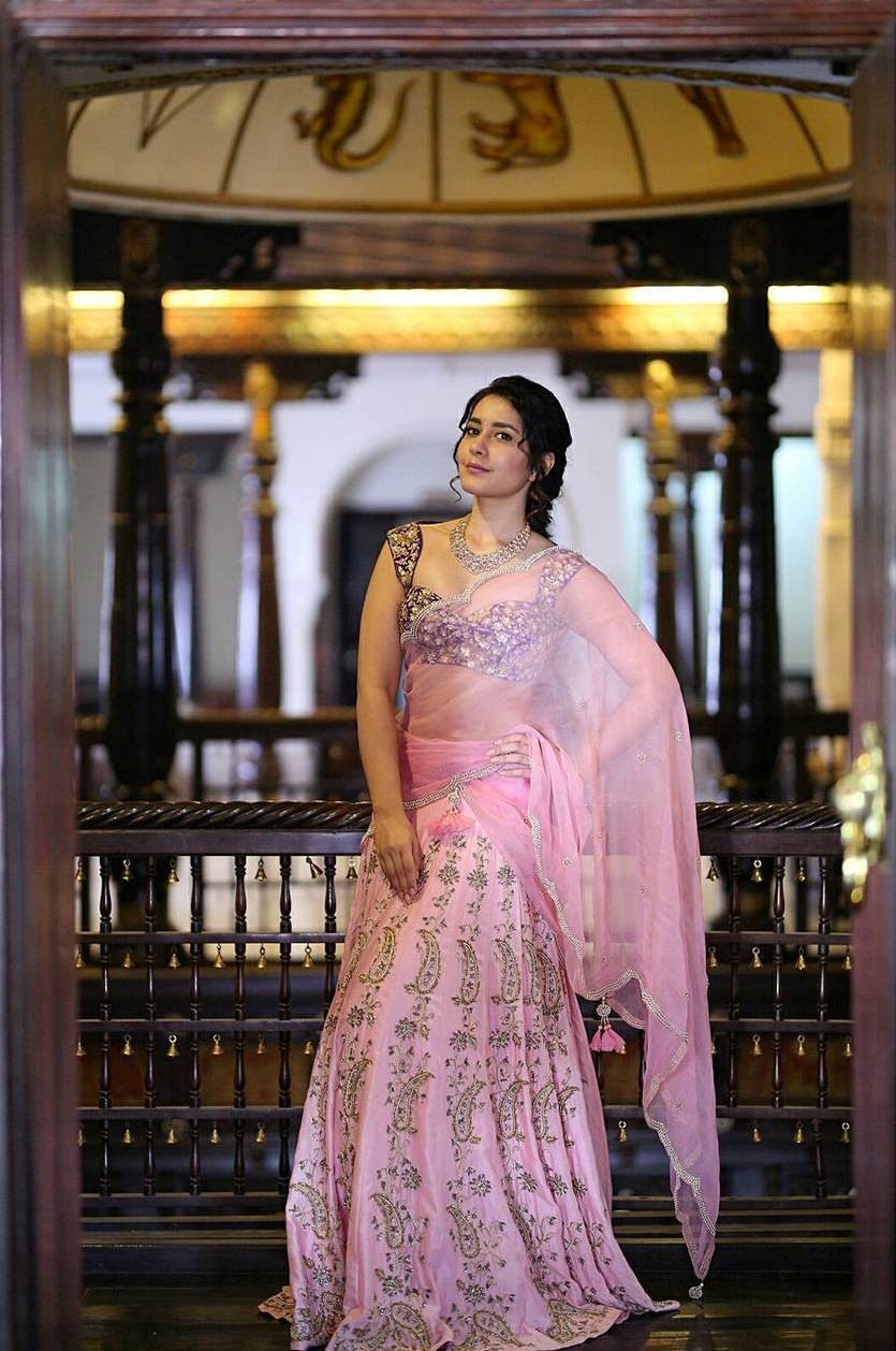 Rashi Khanna Stills In Traditional Pink Half Saree