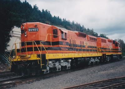 """Portland & Western SD9R #1851 """"Hillsboro"""" in Linnton, Oregon, on August 23, 1998"""