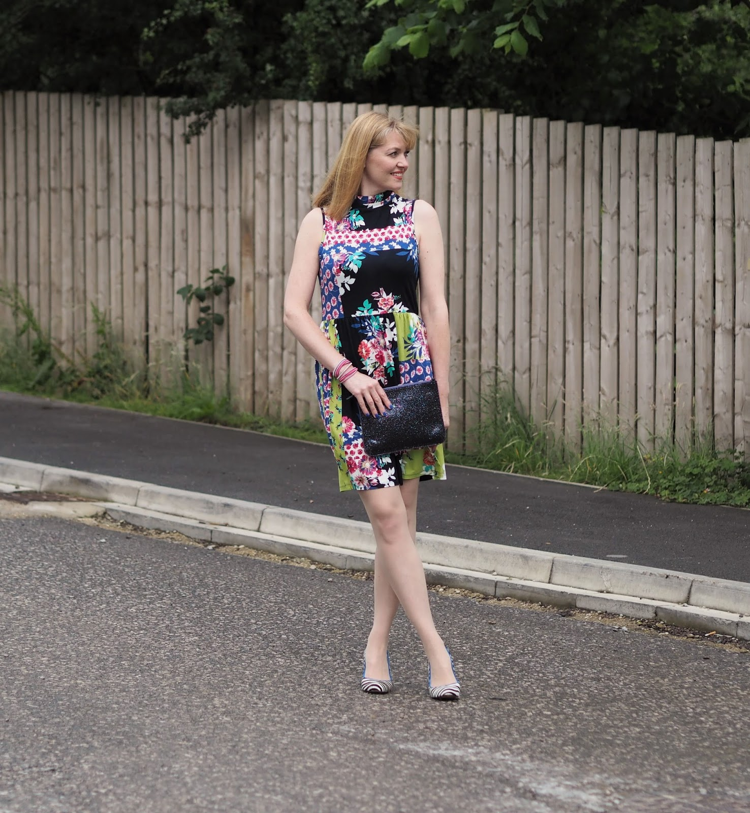 Floral ruffle dress and zebra shoes. Over 40