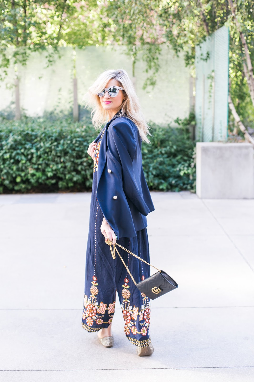 Bijuleni | The Perfect Bardot Dress paired with navy blazer and Gucci Marmont matelassé mini bag