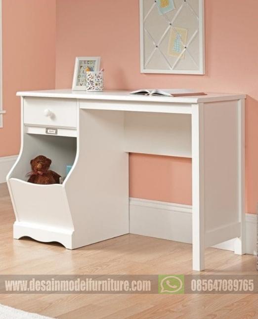 Meja belajar minimalis sederhana duco putih untuk anak perempuan