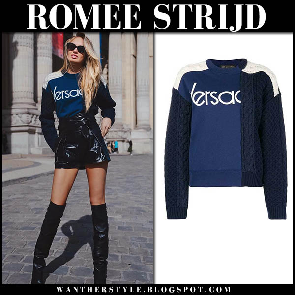 Romee Strijd in blue versace sweater and black boots model fall style september 2018