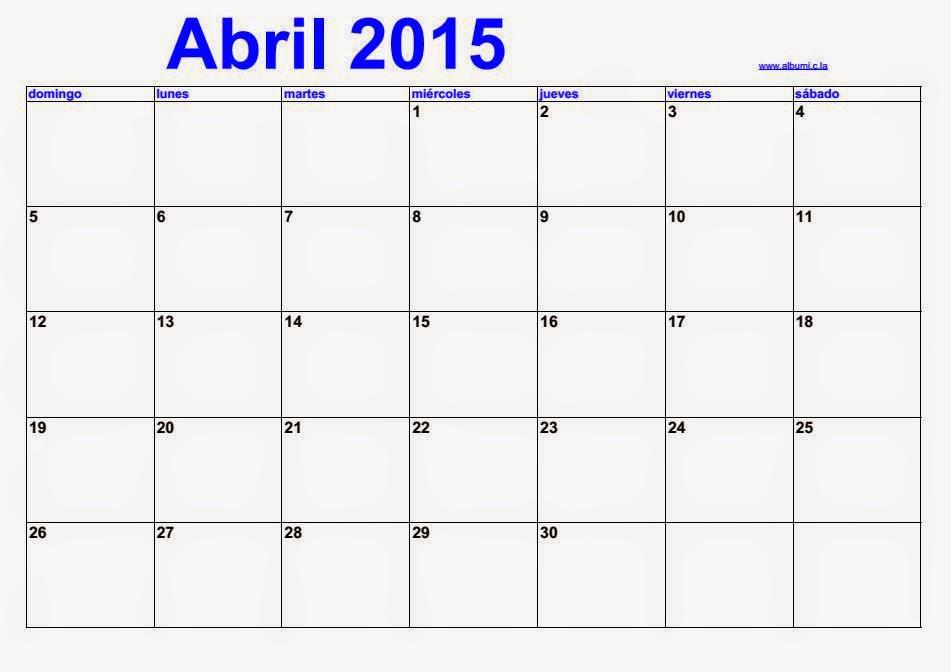 Calendariotrackidsp 006.Espagnol Calendario Abril 2015 2016 Blank Calendar