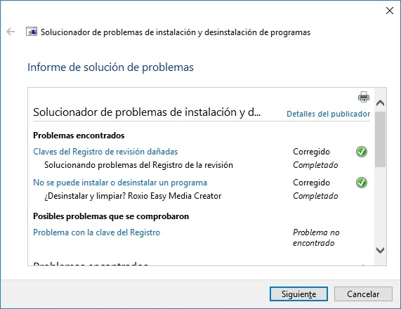 Desinstalación de programa en Windows