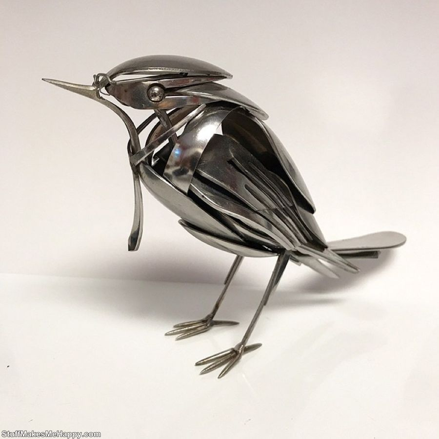 4. Elegant birds from cutlery by Matt Wilson