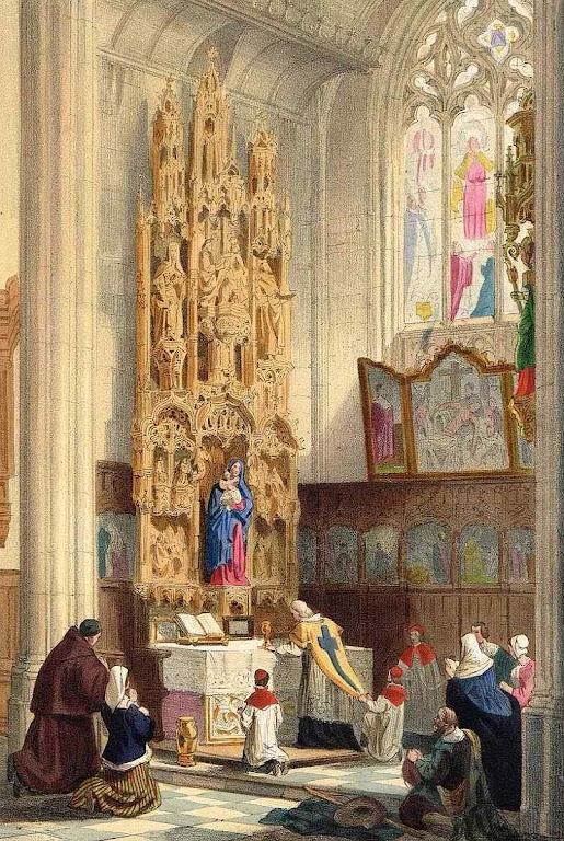 Missa numa capela lateral de uma catedral