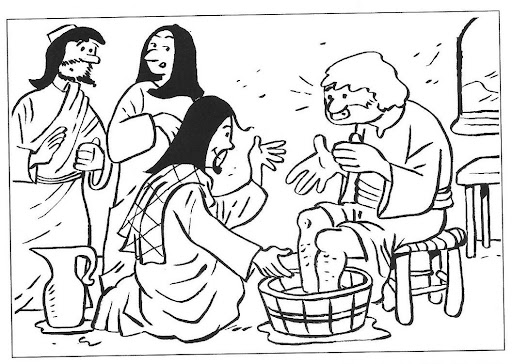 Drawings to color Easter Week: Jesus washes the feet of