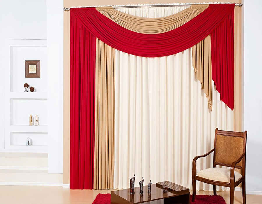 Red And White Curtain Ideas For Modern Living Room