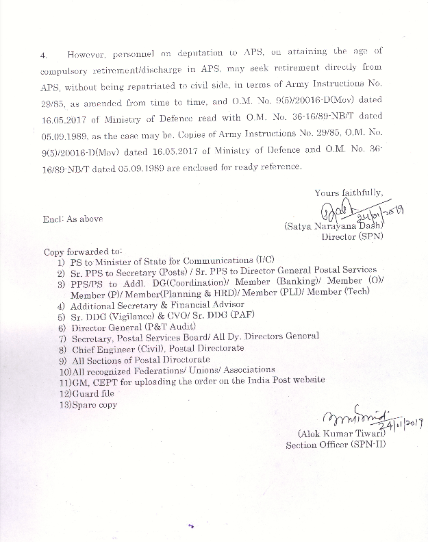 Voluntary retirement of personnel on deputation to APS