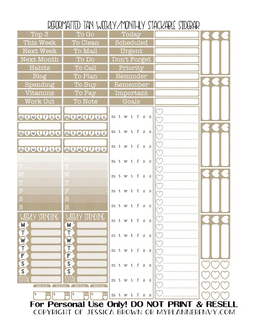 Free Printable Reformatted Weekly/Monthly Stackable Sidebar in Tan from myplannerenvy.com