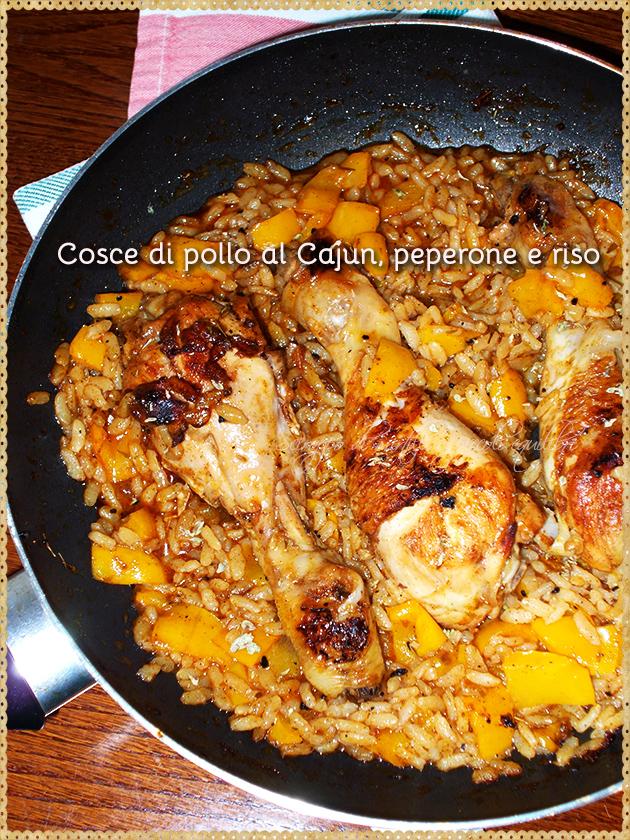 Cosce di pollo al Cajun, peperone e riso