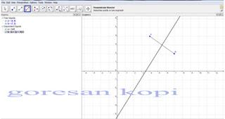 membuat dua titik dan satu garis
