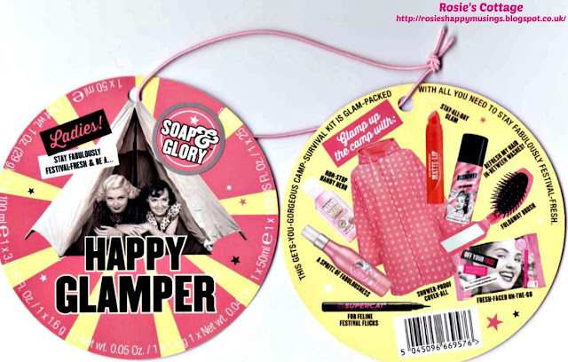 Soap and Glory Happy Glamper Kit tags.