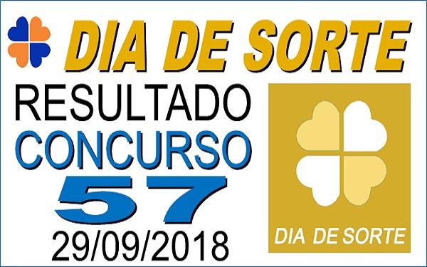 Resultado do Dia de Sorte concurso 57 de 29/09/2018 (Imagem: Informe Notícias)