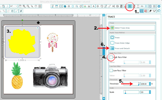 Silhouette Studio, Silhouette tutorial, removing cut box, transparent graphics, trace and detach