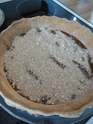 Shoo Fly Pie, ready for the oven, bake at 375 for 35 minutes.