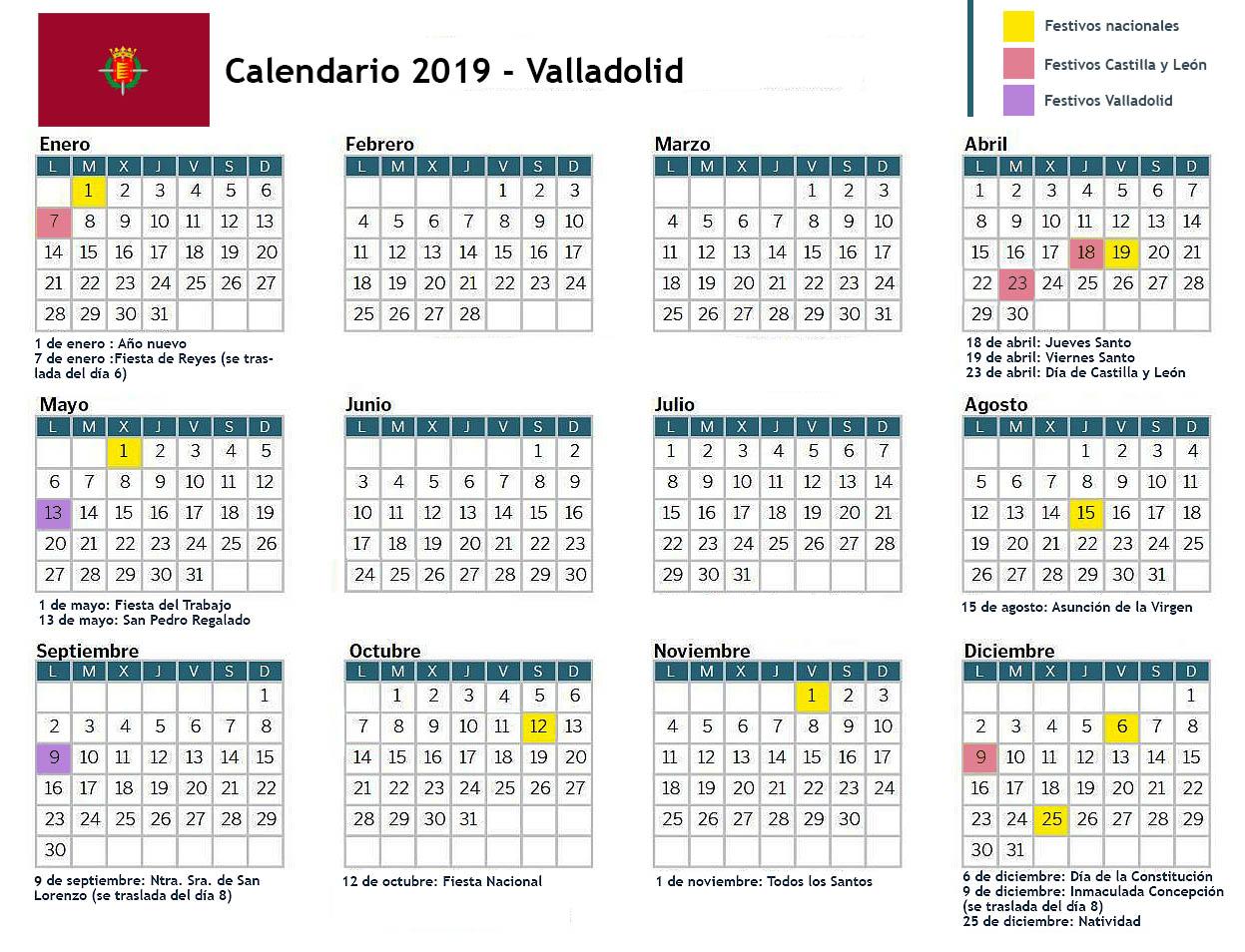 Calendario 2019 Castilla Y Leon.Domvs Pvcelae Calendario 2019 Valladolid
