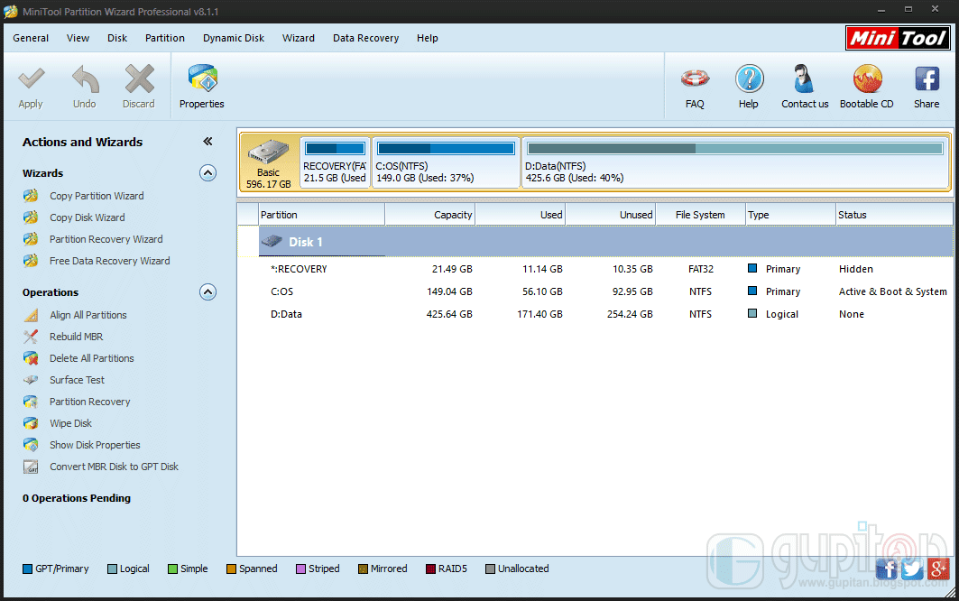 MiniTool Partition Wizard Professional Edition 8.1.1