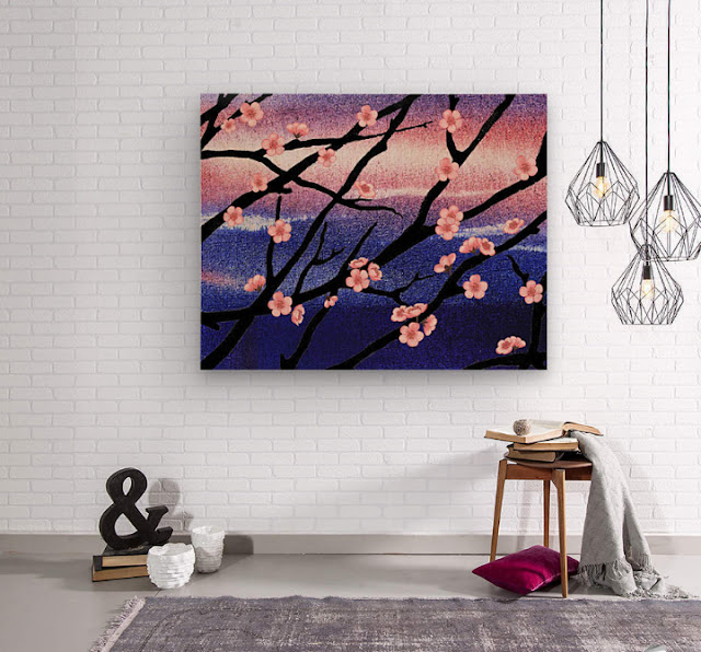 Watercolor painting of cherry blossoms