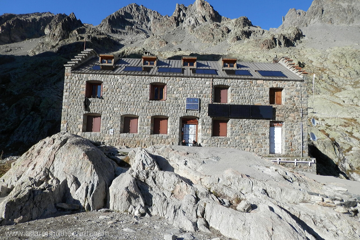 Hiking hut Refuge du Glacier Blanc, situated next to the White Glacier above the Vallouise Valley in the Écrins National Park of the French Alps