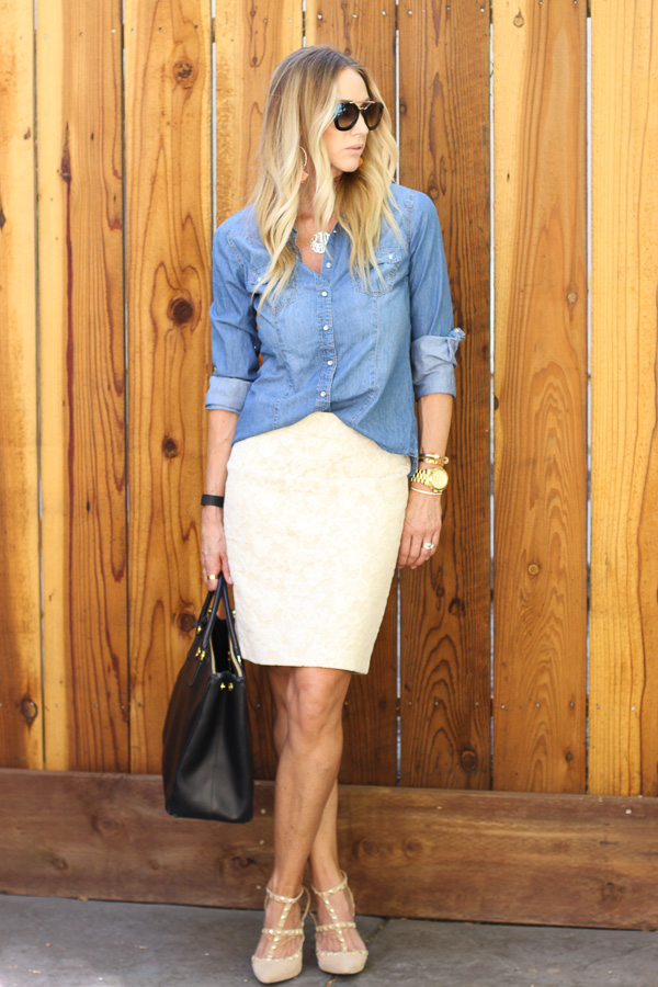 chambray and lace pencil skirt