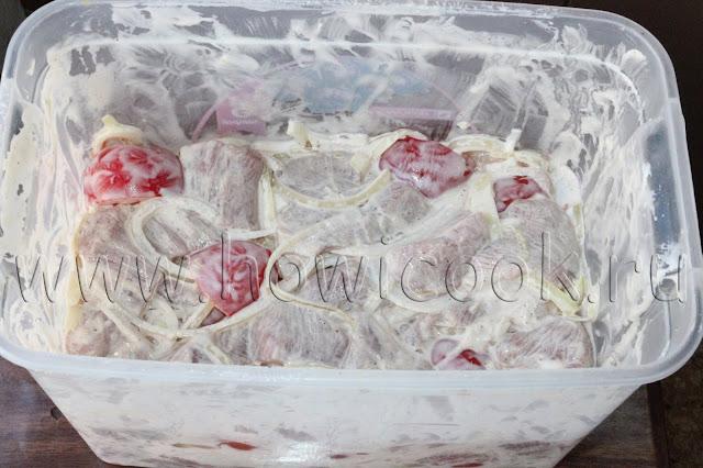 рецепт шашлыка из свинины в луково-помидорном маринаде с пошаговыми фото