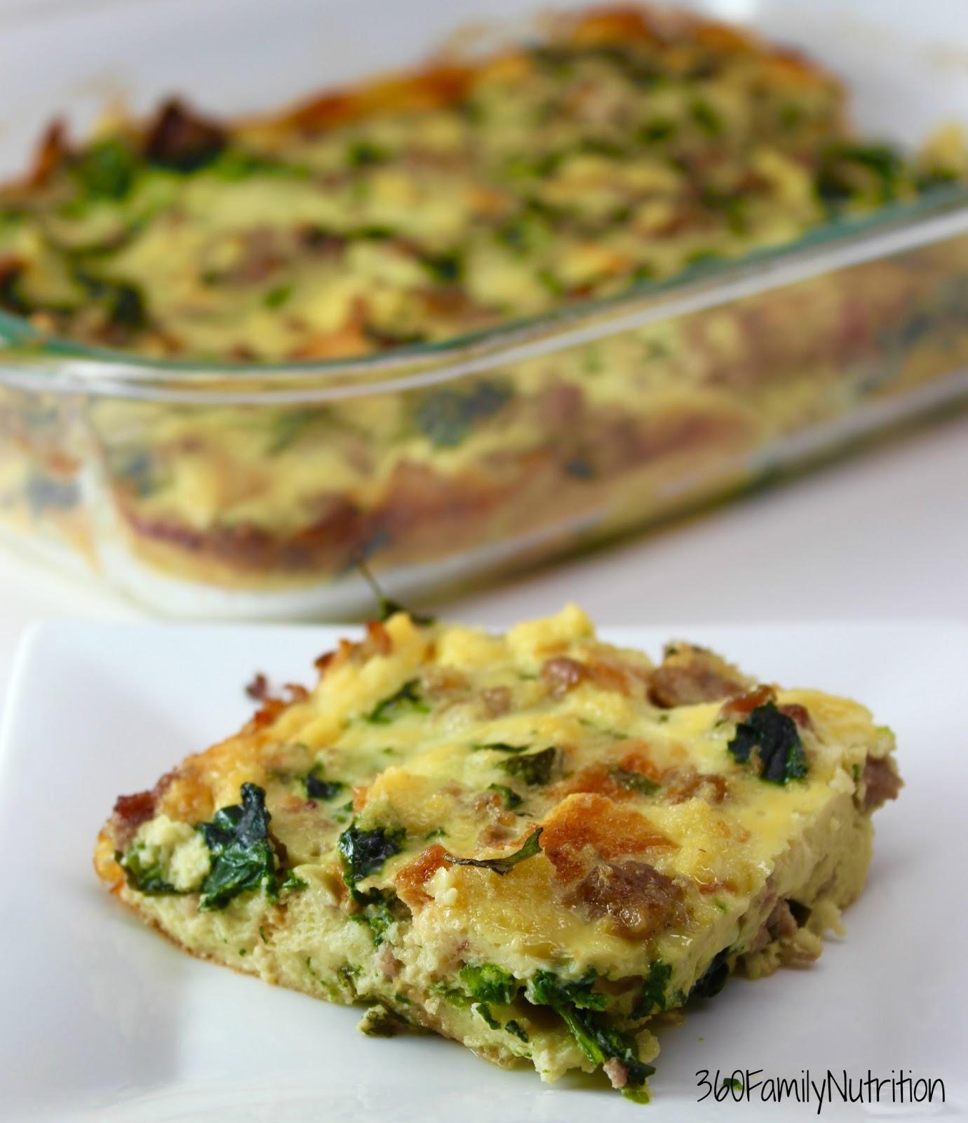 Make Ahead Sausage And Egg Breakfast Bake: Overnight Egg, Spinach And Sausage Bake