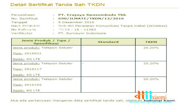 sertifikat 3 smartphone xiaomi lulus tkdn