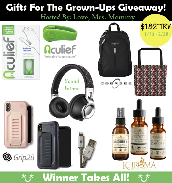 Gifts For the Grown-Ups Giveaway! Over $182 in Prizes!