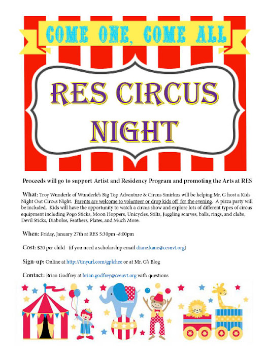 RES Circus Night featuring Troy Wunderle of Big Top Adventures and Circus Smirkus will be Friday 1/27 from 5:30-8:00