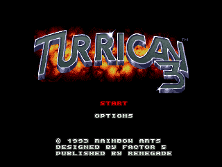 Imagen de título de TURRICAN 3, 1993, música de Chris Hulsbeck, Amiga, Factor 5