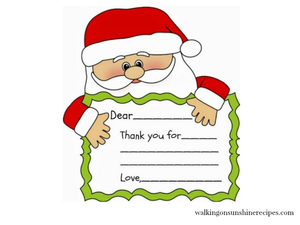Santa Thank You Printable FEATURED photo from Walking on Sunshine Recipes