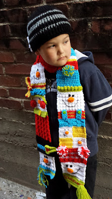 Snowman Sampler Scarf crochet pattern by Snappy Tots