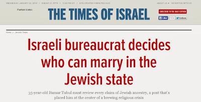 Για να παντρευτεί κάποιος στο Ισραήλ, πρέπει να αποδείξει την εβραϊκή καταγωγή του ενώπιον του Αρχιραβινάτου
