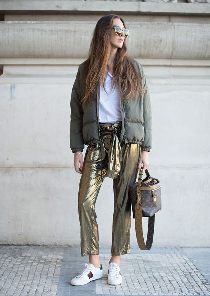 Gold metallic pants bomber jacket