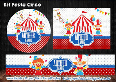 kit festa circo vermelho azul colorido